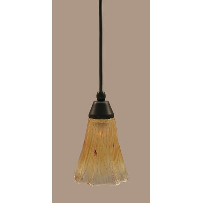 1-Light Mini Pendant Finish: Matte Black, Shade Color: Amber