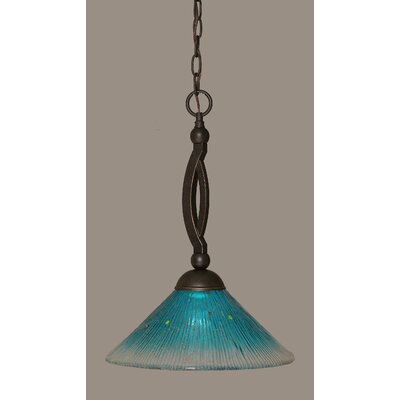 Bow 1-Light Pendant Shade Color: Teal, Size: 12