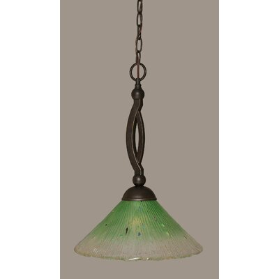 Bow 1-Light Pendant Shade Color: Kiwi Green, Size: 12