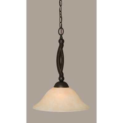 Blankenship 1-Light Metal Pendant Shade Color: Amber, Size: 12