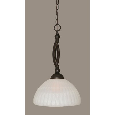 Bow 1-Light Pendant Shade Color: Alabaster