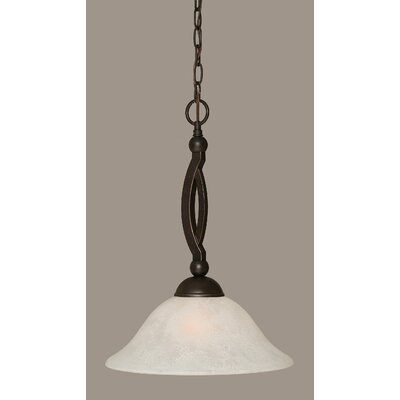 Bow 1-Light Pendant Shade Color: White, Size: 12