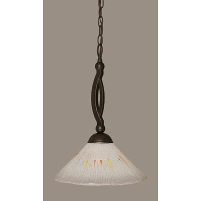 Bow 1-Light Pendant Shade Color: Frosted, Size: 12