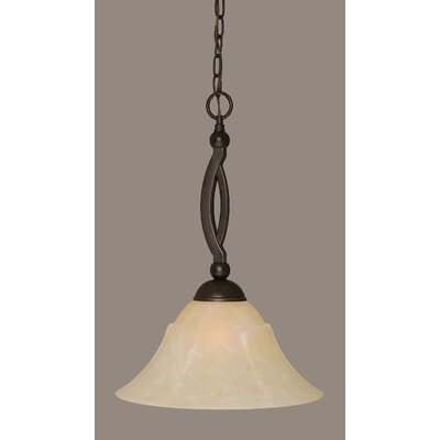 Blankenship 1-Light Metal Pendant Shade Color: Amber, Size: 14