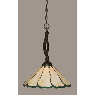 Austinburg 1-Light Pendant Shade Color: Honey and Hunter Green