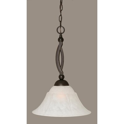 Blankenship 1-Light Metal Pendant Shade Color: White, Size: 14