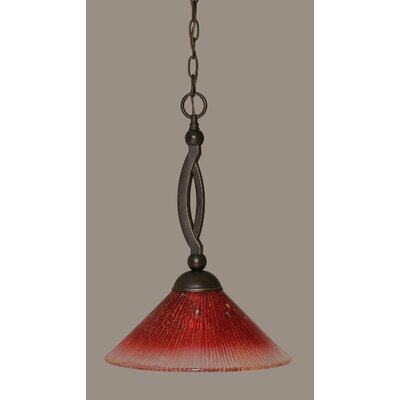 Bow 1-Light Pendant Shade Color: Raspberry, Size: 12