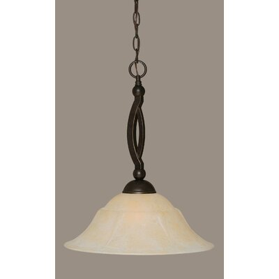Blankenship 1-Light Metal Pendant Shade Color: Amber, Size: 16