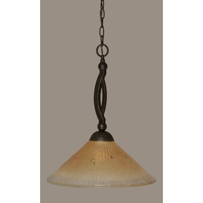 Bow 1-Light Pendant Shade Color: Amber, Size: 16