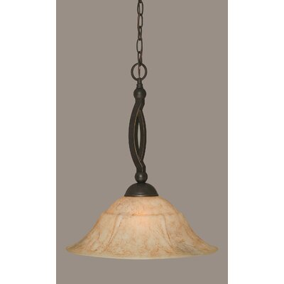 Bow 1-Light Pendant Size: 16, Shade Color: Italian