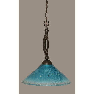 Bow 1-Light Pendant Shade Color: Teal, Size: 16