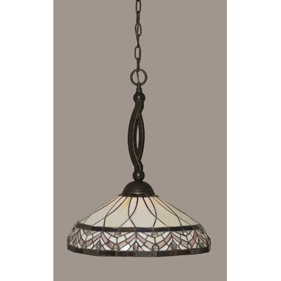 Austinburg 1-Light Dark Granite Metal Pendant