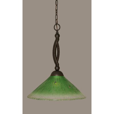 Bow 1-Light Pendant Size: 16, Shade Color: Kiwi Green