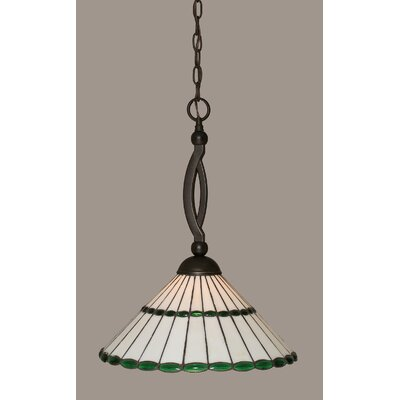 Bow 1-Light Pendant Shade Color: Honey Glass and Green Jewels