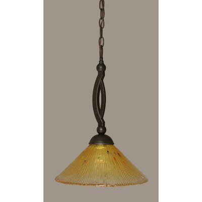 Bow 1-Light Pendant Shade Color: Gold Champagne, Size: 12