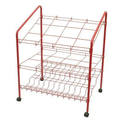 12 Opening Upright Roll File Filing Cart Color: Red