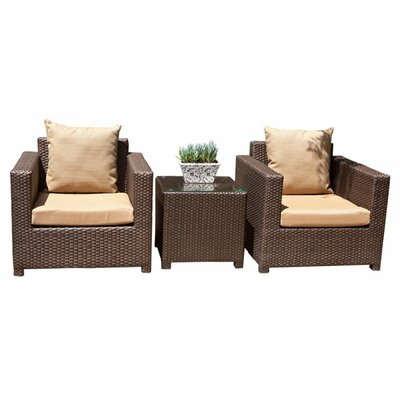 Metro 5 Piece Deep Seating Group with Cushion Fabric: Cameo Brass