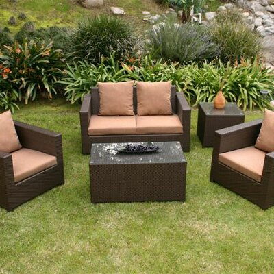 Metro 5 Piece Deep Seating Group with Cushions Fabric: Cameo Brass