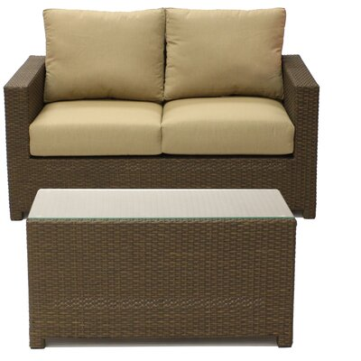 Metro Loveseat with Cushion and Coffee Table Set Fabric: Beige