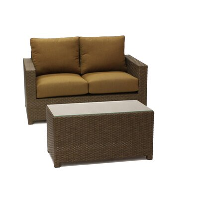 Metro Loveseat with Coffee Table and Cushions Fabric: Teak