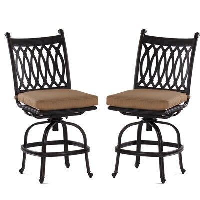 Newport 23 Bar Stool with Cushion Upholstery Type: Olefin - Brass