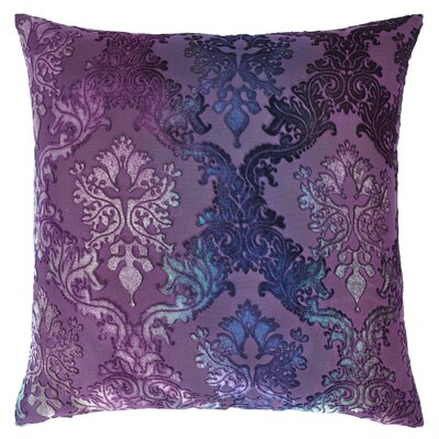 Brocade Velvet Pillow Color: Peacock, Size: 20 H x 20 W x 4 D