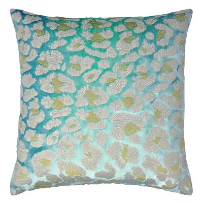 Leopard Metallic Velvet Throw Pillow Color: Cotton Candy Blue