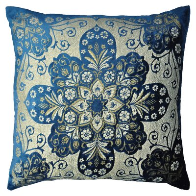 Moroccan Metallic Velvet Throw Pillow Color: Cobalt