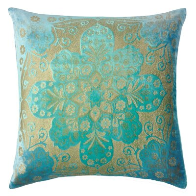 Moroccan Metallic Velvet Throw Pillow Color: Cotton Candy Blue