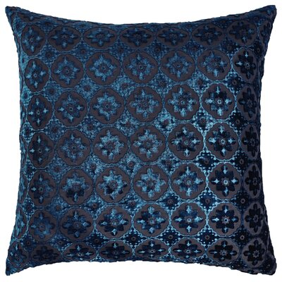 Small Moroccan Metallic Velvet Throw Pillow Color: Cobalt