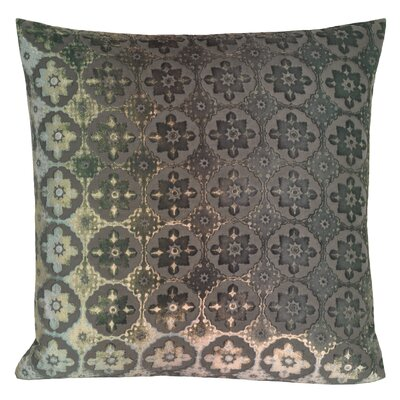 Small Moroccan Metallic Velvet Throw Pillow Color: Gray Patina
