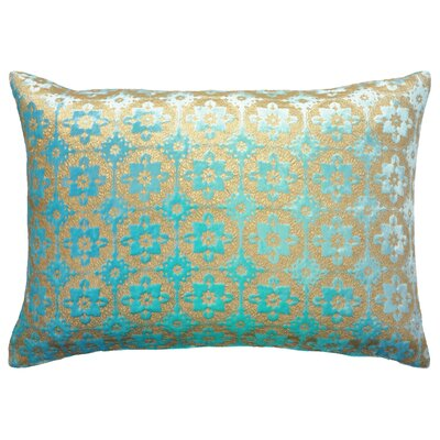 Small Moroccan Metallic Velvet Lumbar Pillow Color: Cotton Candy Blue