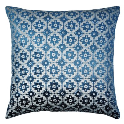 Moroccan Metallic Velvet Throw Pillow Color: Cobalt Black