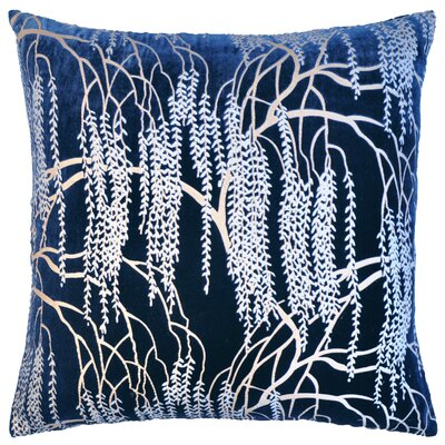 Willow Metallic Velvet Throw Pillow Color: Cobalt Black