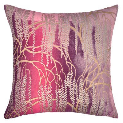 Willow Metallic Velvet Throw Pillow Color: Grape