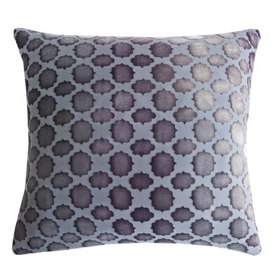 Mod Fretwork Velvet Throw Pillow Color: Silver, Size: 18 x 18