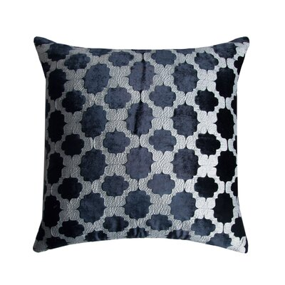 Mod Fretwork Velvet Throw Pillow Color: Silver/Black