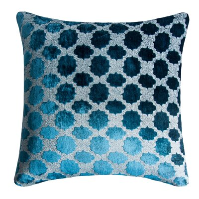 Mod Fretwork Velvet Throw Pillow Color: Cobalt Black