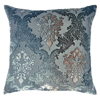 Brocade Velvet Pillow Color: Gunmetal, Size: 20 H x 20 W x 4 D