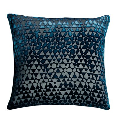 Triangles Velvet Throw Pillow Color: Cobalt Black, Size: 18 x 18