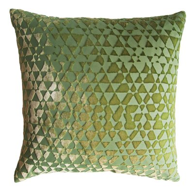 Triangles Velvet Throw Pillow Color: Grass, Size: 18 x 18