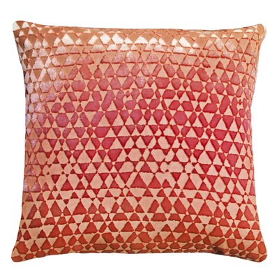 Triangles Velvet Throw Pillow Color: Pink/Gold, Size: 18 x 18