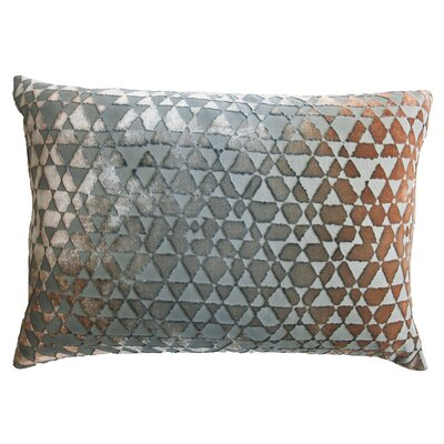 Triangles Velvet Lumbar Pillow Color: Gunmetal
