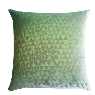Triangles Metallic Velvet Throw Pillow Color: Apple - Green