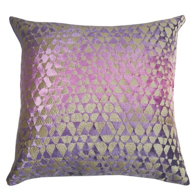 Triangles Metallic Velvet Throw Pillow Color: Grape