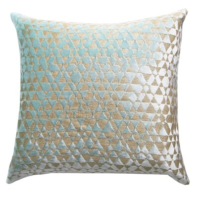 Triangles Metallic Velvet Throw Pillow Color: Mint