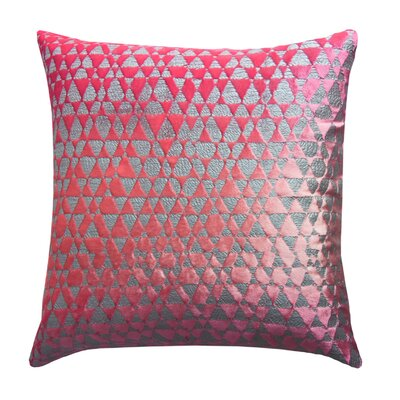 Triangles Metallic Velvet Throw Pillow Color: Fruit Punch