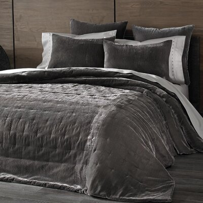 Cirrus Velvet Coverlet Color: Pewter, Size: King
