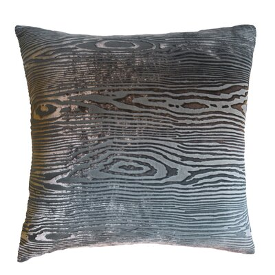 Woodgrain Velvet Throw Pillow Color: Gunmetal, Size: 18 H x 18 W x 4 D