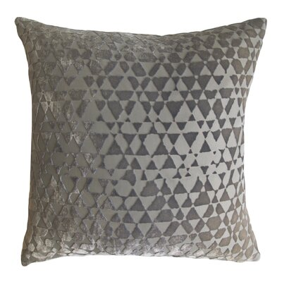 Triangles Metallic Velvet Throw Pillow Color: Nickel